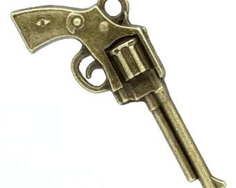 """5 PCs Antique Bronze Large Gun Charms, 3.5cm x 1.6cm (1 3/8""""x 5/8"""")"""
