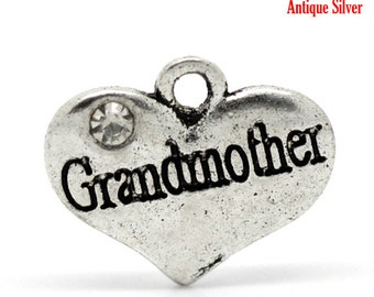 2 Pieces Antique Silver Rhinestone Heart Grandmother Charms