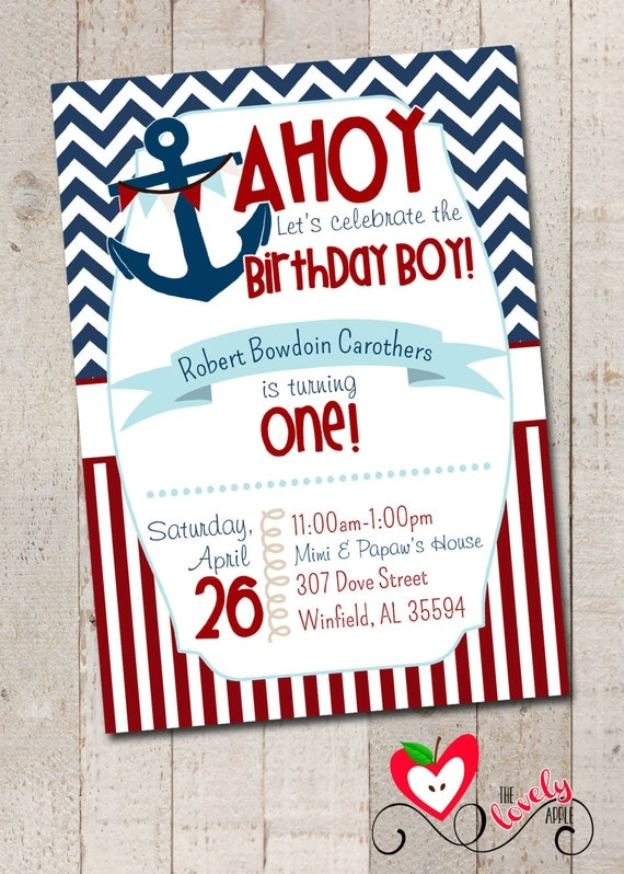 Nautical First Birthday Invitations and get inspiration to create nice invitation ideas