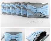 SUPER SALE - Set of 6 Gray with Light Blue Bow Clutch - Bridal Clutches, Bridesmaid Clutch, Bridesmaid Wristlet,Wedding Gift - Made To Order