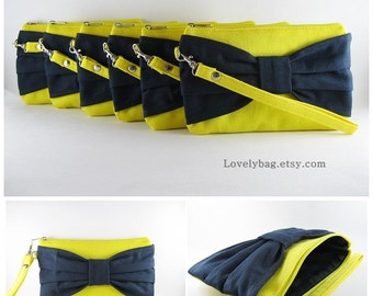 SUPER SALE - Set of 5 Yellow with Navy Bow Clutches - Bridal Clutch, Bridesmaid Clutch,Bridesmaid Wristlet,Wedding Gift - Made To Order