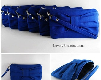 SUPER SALE - Set of 8 Royal Blue Bow Clutches - Personalized Monogram Zipper Pull, Bridal Clutches, Bridesmaid Wristlet  - Made To Order