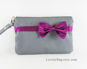 SUPER SALE - Gray with Little Eggplant Purple Bow Clutch - iPhone Wallet, iPhone Wristlet,Cell Phone Wristlet,Zipper Pouch - Made To Order