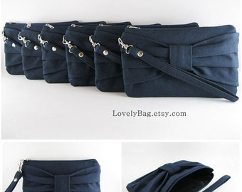 SUPER SALE - Set of 4 Navy Bow Clutches - Bridal Clutches, Bridesmaid Clutches, Bridesmaid Wristlet, Wedding Gift - Made To Order