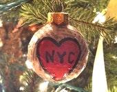 Handmade 'I Love NYC' Newspaper Ornament. Vintage Customizable Glass Bulb. New York City Pride.
