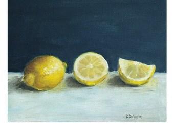 Home Decor, Lemon print, still life print, yellow lemons, print from original painting, kitchen art, kitchen decor, wall decor, lemon art