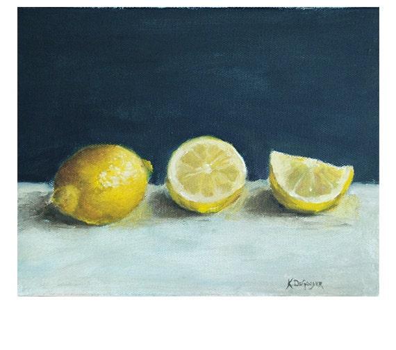 Home Decor Lemon print still life print yellow lemons