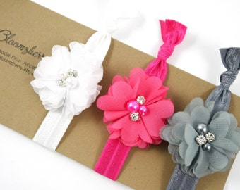 Chic Flowers Elastic Knotted Hair Ties - 3 pcs Set - White, Hot Pink and Gray - Flowers Elastic Hair Ties - Flowers Hair Tie