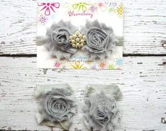 Headband and Barefoot Sandals Set-  Gray Color - Gray Baby Sandals - Gray Headband and Sandals - Photoprop/Birthday/Gift - Newborn to 2T
