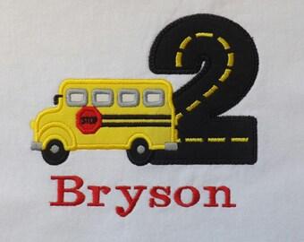 School Bus Birthday T-Shirt or Bodysuit