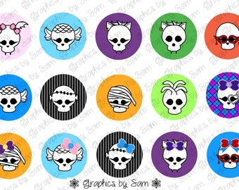 """1"""" DIGITAL Bottle Cap IMAGES -Girly MONSTER Skulls- For Use On Finished Products & For Precut sale"""