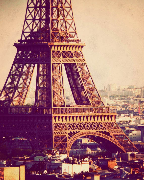 eiffel tower at sunset paris photograph vintage by journeyseye
