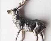 Deer statue vintage antique silver