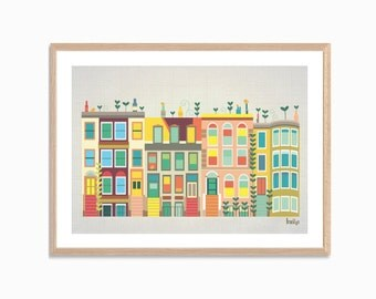 AMERICA | Baby Went to Brooklyn Poster  : Modern New York Townhouses Illustration Retro Art Wall Decor Print