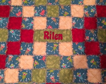 Flannel Baby rag quilt with name