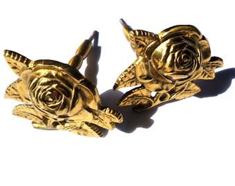 Vintage Large Brass Roses Knobs / Set of Two