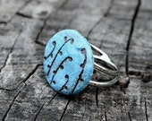 Turquoise ring ceramic jewelry - floral jewelry, natural style, turquoise