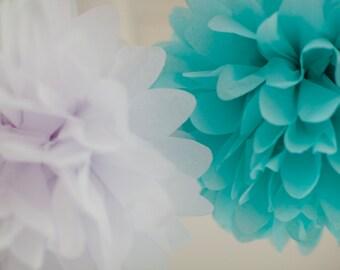 TEAL BLUE & WHITE / 10 Tissue Paper Poms / Wedding Decor / Baby or Bridal shower Decor / Teal Pom Poms / Nursery Decor/ Ready to Ship