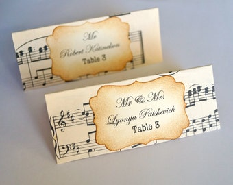 Beautiful Hand Crafted Music Themed Wedding Place Cards Vintage or Shabby Chic Style x 100
