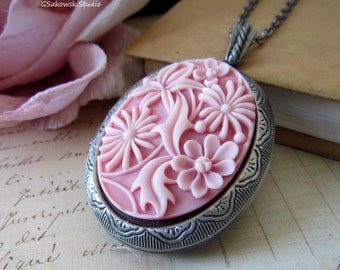 Floral Cameo Locket Necklace, Vintage Inspired Long Chain Antique Silver Oval Pink Flowers Cameo Locket Necklace