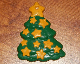 Hand Painted Green Tree with Gold Sparkling Star Ornament