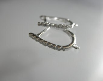 SALE - CZ hoop earrings lever back