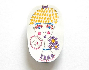 HI WOMAN shrink plastic brooch