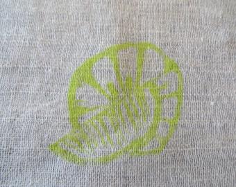 Handwoven dish towel with original screen printed citrus design