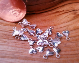 Vintage Sterling Silver Tiny Heart Charm Dangles.  Lot of 28 Pieces.