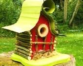 bird house, Birdhouse, Whimsical birdhouse with color options and curly metal roof, original art, custom birdhouse, gift, garden art