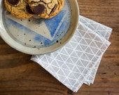 Linen Cocktail Napkins - Triangle Pattern - Set of Two