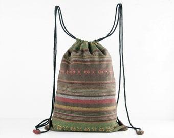 Rustic Reusable Bag Ecofriendly String Backpack Cotton Cloth Bag Tribal/Folk Textile Green/Brown