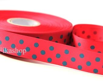 3 yards 1 inch 25mm One Sided Grosgrain Green Polka Dot Hot Pink Ribbon (KR0019)