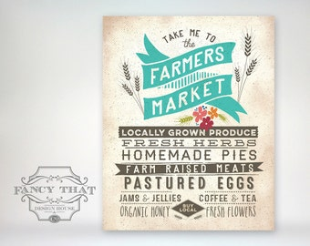 "8x10 art print - ""Farmers Market"" - Vintage Inspired Aged Typography Poster Print - Buy Local"