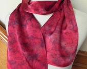 Long Silk Satin Scarf Hand Dyed in Shades of Red & Purple, Ready to Ship - RosyDaysScarves