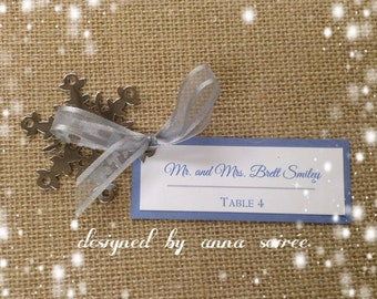 DOUBLE LAYER Personalized SNOWFLAKE Favor/Place card/Favor Tag Combination:  Winter Wedding Escort Card - You Personalize Names and Colors
