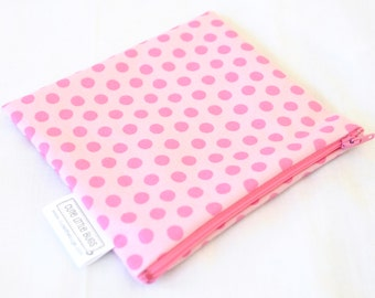 Large Snack Bag - Reusable - Zippered or Snap - Waterproof - Large - Lunch - Food Storage - Washable - Pad Wrapper - Light Pink Polka Dots