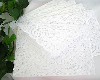 Sale - Lace Envelope - Sale Vintage Doily Lace Envelope Wedding Invitation Size A7 Shabby Chic Lace Wedding Invitation Doily Lace Envelopes