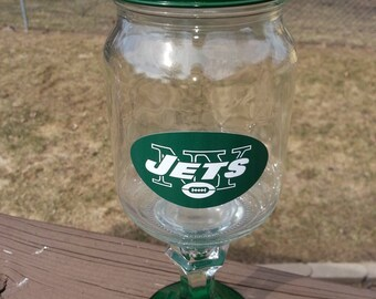 New York JETS Logo Wine Glass Wineglass Redneck Rustic Hillbilly Rednek