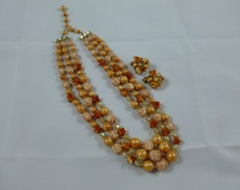 SALE Vintage 3 Strand Necklace & Clip On Earrings Marked Hong Kong