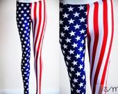 NEW Womens Star American Flag pants Blue White Stripe Red super hero Leggings tights plus size XL