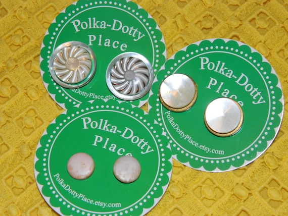 Neutral & Gold Vintage Button Earrings