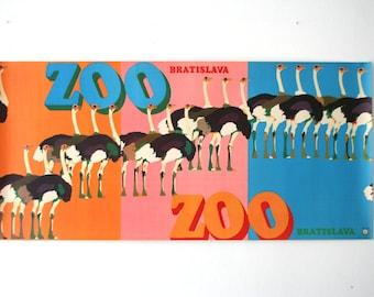 SUMMER SALE 30% OFF!!  Original Zoo Advertising Poster  - Ostrich - Bratislava