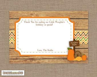 Our Little Pumpkin Thank You Card | Pumpkin Thank You Card | Fall Thank You Card