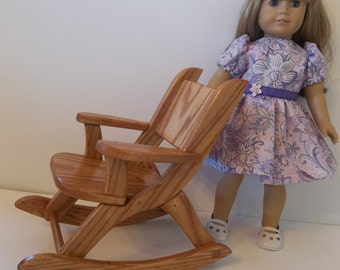 """Oak Rocking Chair for the American Girl Doll and All 18"""" Dolls"""
