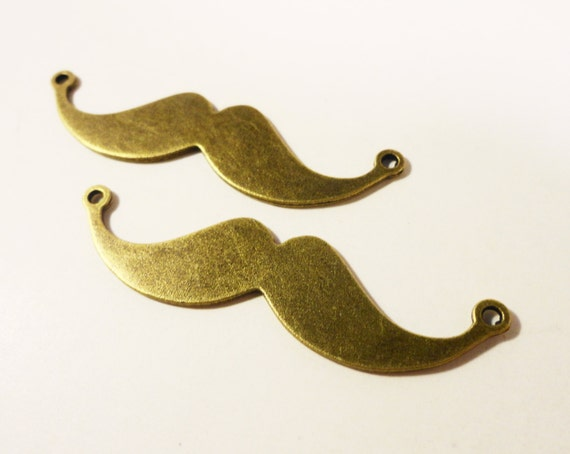 Bronze Mustache Connector Charms 49x12mm Antique Brass Metal Large Mustache Pendant Jewellery Making Jewelry Findings 5pcs