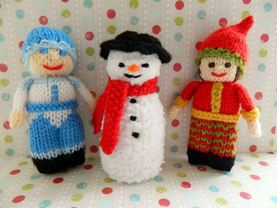 Knitting Patterns Christmas Figures : Christmas Doll Knitting Pattern/ Knitted by EdithGraceDesigns