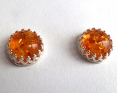Amber sterling silver stud earrings crown setting 8mm round