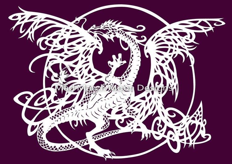 Tangle dragon personal use papercut template pdf by for Chinese paper cutting templates dragon