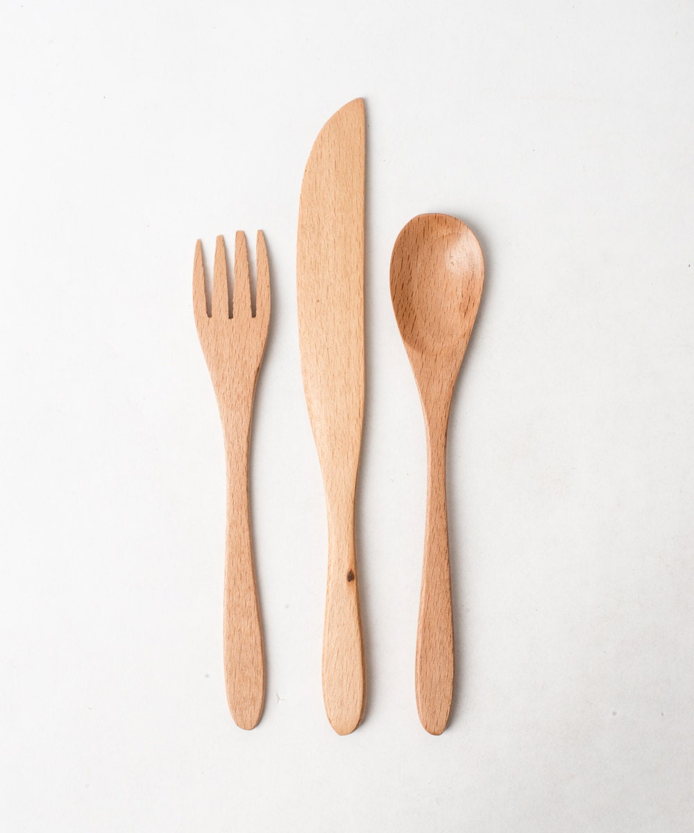 wooden utensils set of fork spoon and knife by luluandira on etsy. Black Bedroom Furniture Sets. Home Design Ideas